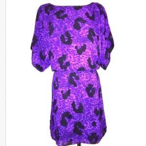 Leopard Purple/Black Mini Dress XS